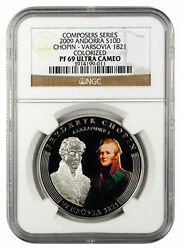 Rare 2009 Andorra Large Proof Silver 10 D Chopin 200 Years-1821 Russia Ngc Pf69