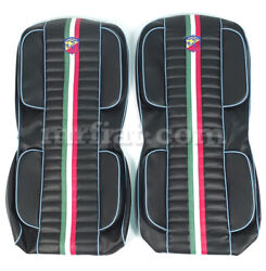 Fiat 500 Italian Abarth Seat Covers Blue Piping New