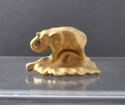 Vintage Figurine Elephant Pottery Or Ceramic Gold Tone Paperweight About 2 1/2