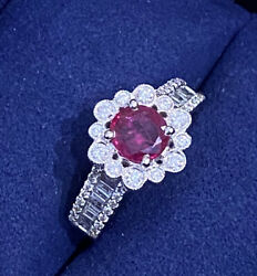 Ruby And Diamond Halo Ring 1.43 Cttw In 18k White Gold- Hm1462as