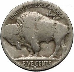 1934d Buffalo Nickel 5 Cents Of United States Of America Usa Antique Coin I43756