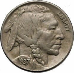1937d Buffalo Nickel 5 Cents Of United States Of America Usa Antique Coin I43885