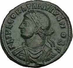 Constantius Ii Constantine The Great Son Roman Coin Military Camp Gate I45211