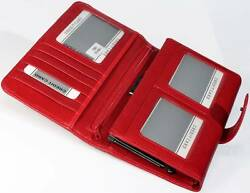 1680139 Red fine Italian real genuine leather wallets for womens purse and Rudi