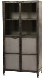 68 H Steel Two Door Cabinet Sealed Antiqued Finish Glass Industrial Sept Sale