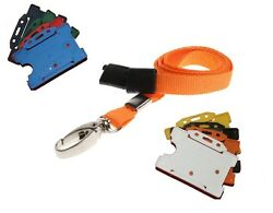 Orange Neck Strap Lanyard With Silver Lobster Clip And Id Staff Card Holder