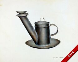 Whale Oil Lamp Lantern Vintage Technical Drawing Painting Art Real Canvas Print