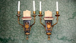A Pair Of 19th C. Neoclassical Marble / Giltwood Wall Sconces Electrified.