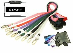 Black Staff Identity Card With Lanyard Plus Id Card Holder - Choice Of Colour