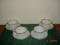 8-pc A.hocking Fire King Cups And Saucers/wht/milk Glass/swirl/as Is/free Ship