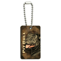 Pit Bull Blue Nose American Staffordshire Terrier Dog Wood Rectangle Key Chain