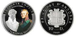 Rare 2009 Andorra Large Proof Silver 10 D Chopin 200 Years-1821 Warsaw/alexander