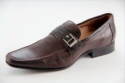 Sarreti Men's Slip On Leather Brown Made In Brazil Dress Shoes Style18937