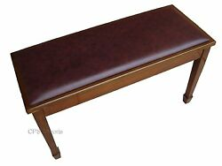 Genuine Leather Walnut Concert Grand Duet Piano Bench/stool/chair With Storage
