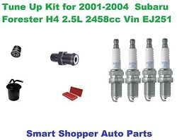 Tune Up Kit For 2001-2004 Subaru Forester Spark Plug, Air, Fuel, Oil Filter, Pcv