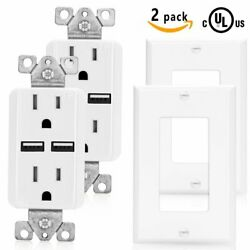 Senq Ul Usb Outlet Port Charger Socket Receptacle + Wall Plate 2 Pack Outlets