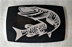 Musky Fishing, Billet Aluminum Trailer Hitch Plug Cover, 4 X 6, Arch Edge