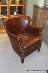 27 W Occasional Chair Small Cigar Vintage Cigar Italian Leather Pure Beauty