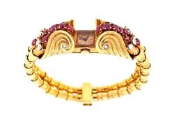 3.10 ct French Retro Ruby and Diamond Bracelet Watch in 18k Rose Gold- HM1347EE