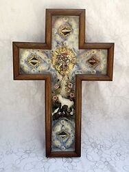 Large Antique French Wall Cross Reliquary 19th Ex Voto Relics