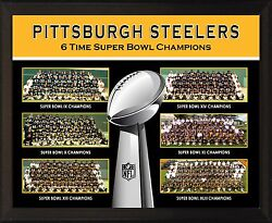 Pittsburgh Steelers 6 Super Bowl Championship Teams 8x10 Plaque