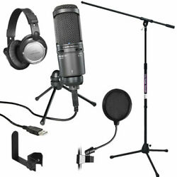 Audio-Technica AT2020USB PLUS Cardioid Condenser USB Microphone STUDIO PAK