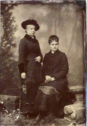 Antique Tintype Photo Portrait Of Two Young Women Wearing Coats And Hats