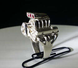 440 Chrysler Mopar Wedge Blown With Rubies V8 Ring Jewelry 925 Silver Size 10.5