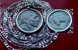 Classic Buffalo Nickel Indian Head Pendant On A .925 Sterling Silver Chain