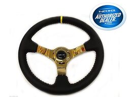 NRG Deep Dish Steering Wheel Black Leather with Red Stitch Gold Spoke ST-036GD-Y