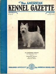 Vintage American Kennel Gazette August 1938 West Highland White Terrier Cover