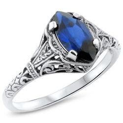 Antique Design Royal Blue Lab Sapphire .925 Sterling Silver Ring   797
