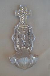 French Antique Religious Crystal Glass Wall Holy Water Font 19th