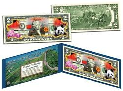 China Colorized 2 Bill U.s. Legal Tender Panda Great Wall Chinese Lucky Money
