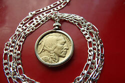 American Gold Plated Buffalo Nickel Pendant On A 28 .925 Sterling Silver Chain