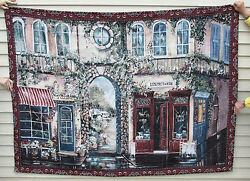Large Wall Tapestry French Canadian Shop Scene Made in USA By Ginger Cook