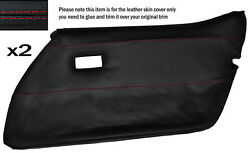 Red Stitch 2x Front Full Door Card Leather Skin Cover Fits Corvette C3 78-82