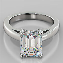 Emerald Cut Cathedral Style Engagement Ring In 14k White Gold