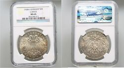 Rare 1908a Germany Lubeck Large Silver 5 Mark Ngc Ms 65