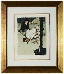 Norman Rockwell -jim Got Down On His Knees Hand-signed Lithograph, Framed