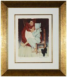 Norman Rockwell - My Hands Shook, Hand-signed Lithograph, Framed
