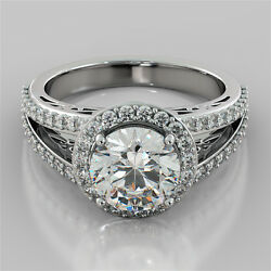 2.19ct Round Cut Engagement Ring In 14k White Gold With Optional Matching Band