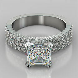 2.84ct Asscher Cut Pave Style Engagement Ring Available In 14k White Gold