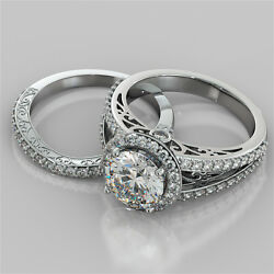 2.42ct Round Cut Engagement Ring And Matching Band Available In 14k White Gold
