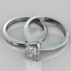 1.50ct Princess Cut Engagement Ring And Matching Band Available In 14k White Gold