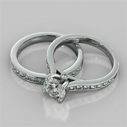 2.98ct Round Cut Engagement Ring And Matching Band Available In 14k White Gold