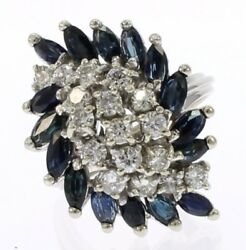 Vintage Blue Sapphire And Diamond Ladies Ring In 14 Kt White Gold