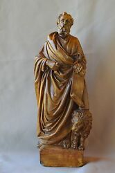 French Saint Mark Marc And Lion Evangelist Statue Wall Sculpture Terracotta 18th.c
