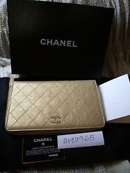 Jumbo Quilted Zip Around Metallic Gold Wallet Clutch New Box Large Long