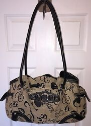 Sophia Caperelli Brown S Fabric Silver Leather And Metal Accents 2 Handle Purse